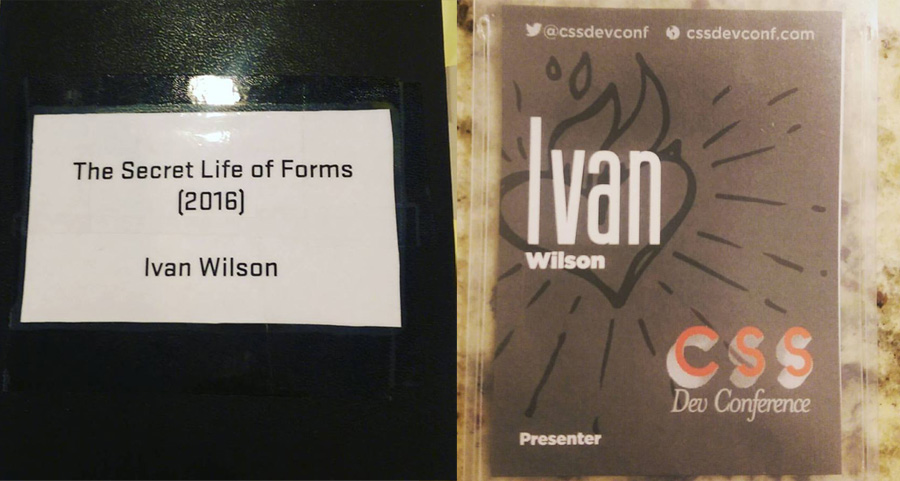 Lecture - The Secret Life of Forms, left - notebook, right - presenter pass