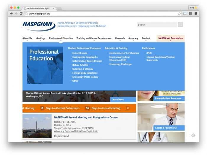 NASPGHAN homepage with open navigation